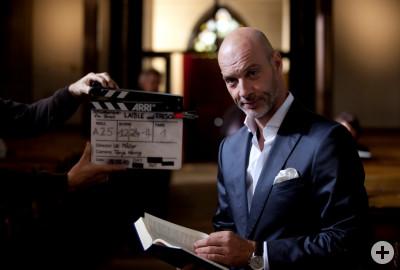 Dreharbeiten mit Simon Licht (Manfred Frisch)