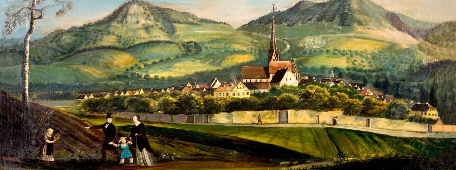 Ein gemaltes Bild zeigt Dettingen um das Jahr 1853